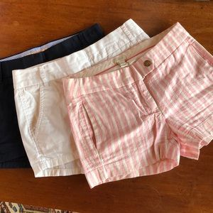 Three pairs j crew shorts